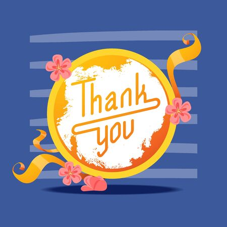 Lettering thank you in round frame banner vector illustration. Beautiful greeting card calligraphy golden text words with flowers and ribbons on dark background. Print design flyers, brochures.