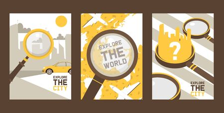 Explore a city set of cards, posters vector illustration. Zooming of town with skysrapers and car riding along street. Explore world with flying airplanes around globe. Question mark.