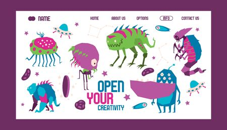 Open your creativity banner web design banner vector illustration. Cartoon monstrous character, creature or funny gremlin on halloween for kids. Spacecraft for cosmos travelling.