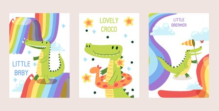 Cartoon funny crocodiles set of banners, cards vector illustration. Little baby dreamer, lovely croco in inflatable ring. Rainbow in clouds. Reptile walking with net catching butterfly.
