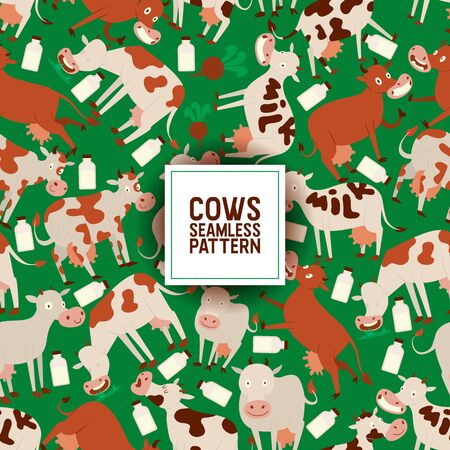 Cute cow eating grass. seamless pattern vector illustration. Smiling animals with bottles of milk. Fresh diary products concept for textile, fabric, wrapping paper. Text milk on cow. Organic food.