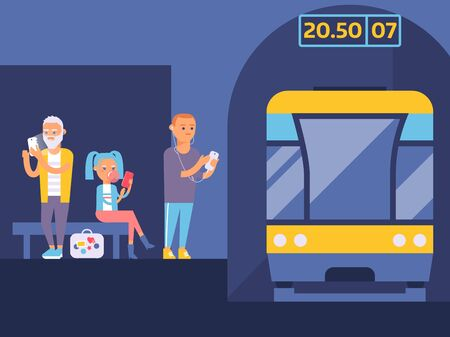 Metro station banner vector illustration. Different people waiting for train with gadgets. Boy listening to music in his mobile phone. Girl playing on device. Man watching videos.
