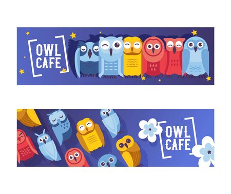 Owl cafe set of banners vector illustration. Cute cartoon wise birds with wings of different colors for greeting cards and celebration party. Owls with closed eyes. Night sky with stars. Flowers.