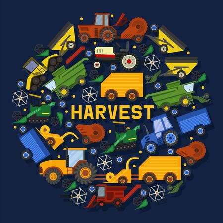 Harvesting machines banner vector illustration. Equipment for agriculture. Industrial farm vehicles, tractors transport, combines for land and machinery excavator. Agro-industrial complex.