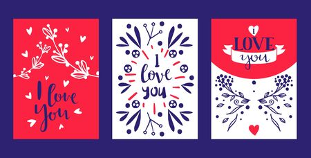 Hand drawn calligraphy text Love You for Valentines day, wedding, dating and other and other romantic events set of cards, banners posters vector illustration. Lettering decorated with flowery branch.