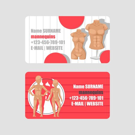 Mannequins shop set of business cards vector illustration. Fashion clothing store. Different poses and colurs fashion female male full body and partial mannequins collection. Foto de archivo - 125319505