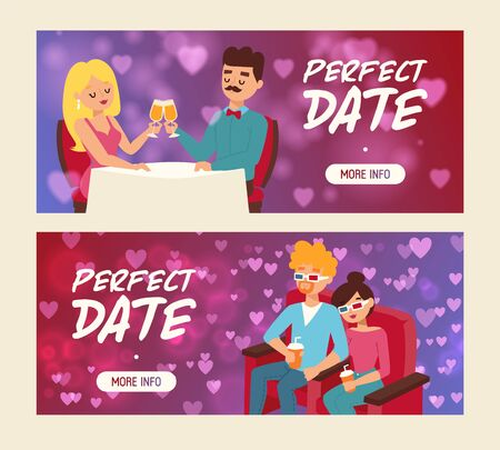 Perfect date set of banners vector illustration. People sitting in restaurant and drinking champagne. Cople drinking soda in 3d glasses in cinema. Watching films. Eating out. Man and woman in love. Ilustração