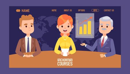 Anchor stock market courses banner website design vector illustration. Breaking news on Television. TV presenters man and woman. News announcers with paper script on news desk in studio Stock Illustratie