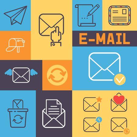 Email contour icônes bannière vector illustration. Lettre d'éléments de courrier de dessin animé, enveloppe, timbre, boîte aux lettres, paquet, crayon. Signe d'avion en papier. Rechargement, conception des icônes reçues. Vecteurs