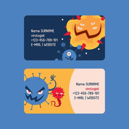 Virologist set of business cards vector illustration. Microbes or collection of cartoon viruses. Bad microorganisms for people. Different disgusting bacteria. Monsters. Contact information. Website.