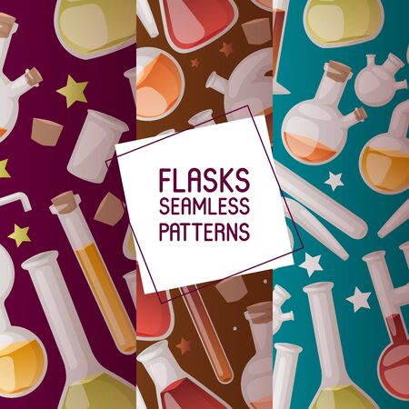 Flasks set of seamless patterns vector illustration. Different laboratory glassware and liquid for analysis, test tubes with orange, yellow and red liquid. Chemical and biological experiments.