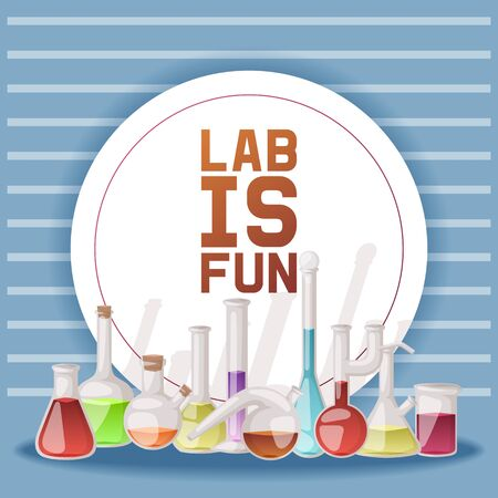 Laboratory is fun banner vector illustration. Different laboratory glassware and liquid for analysis, test tubes with orange, yellow and red liquid. Chemical and biological experiments. Researches.