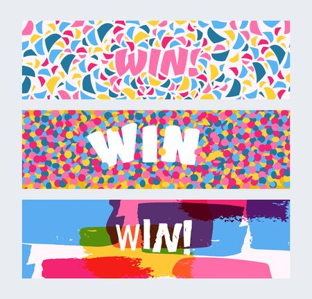 Win sign with bright confetti, watercolor brush strokes set of banners vector illustration. Congratulations winner in championship. Victory header with shapes. Success design. First place. Get prize.