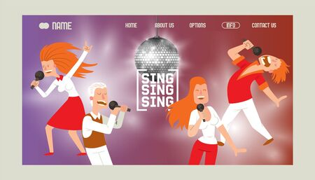 Karaoke bar banner web design vector illustration. People singing and dancing in karaoke. Women and men having fun, performing with microphone. Singer star. Shining disco ball.
