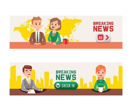 Últimas noticias en la televisión de la ilustración de vector de banners. Presentadores de televisión ancla hombre y mujer. Locutores de noticias con guión en papel en la mesa de noticias caliente en el estudio, transmisiones en vivo para los espectadores. Registrarse.