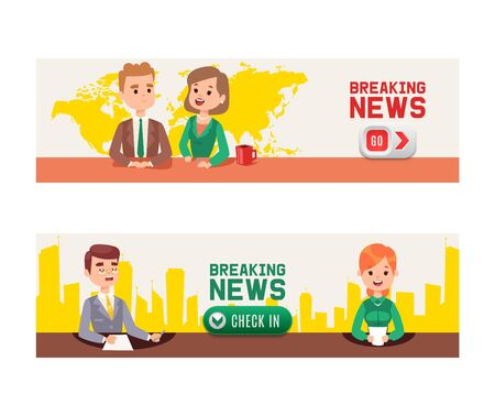 Breaking news on Television set of banners vector illustration. Anchor TV presenters man and woman. News announcers with paper script on hot news desk in studio, live broadcasts for viewers. Check in.