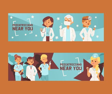 Team of doctors and other hospital workers set of banners vector illustration. Medicine professionals and medical staff people in uniform doctor, nurse. Health care clinic. Pediatricians near you.