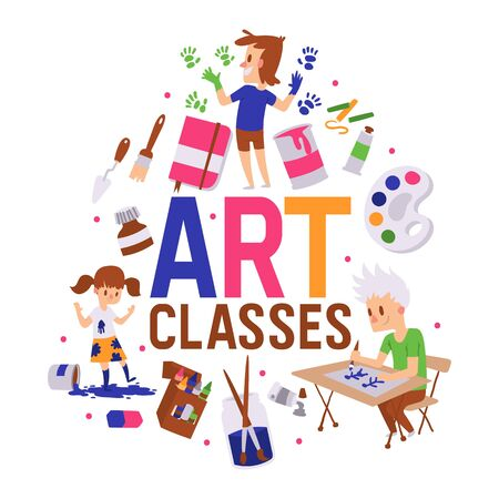 Art classes banner vector illustration. Girl and boys drawing, painting, sketching on with equipment. Education, enjoyment concept. Pencils, watercolor, crayons. Creative people. Hands in ink.