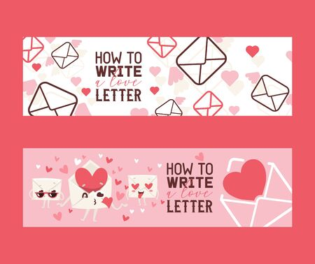 How to write love letter set of banners vector illustration. Envelopes with hards sending kisses. Face in love with hearts instead of eyes. Letter with glasses. Sending private message with wings. Çizim