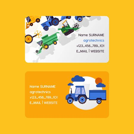 Agrotechnics set of business cards. Harvesting machines vector illustration. Equipment for agriculture. Workers on industrial farm vehicles, tractors transport, combines and machinery excavator.