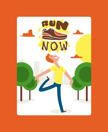 Run now banner, poster vector illustration. Creative sport running motivational quote. Sport shoes, sneakers for training, fitness. Running shoes, trainers. Healthy lifestyle. Happy man ready to run.
