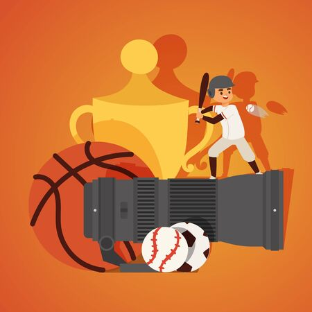 Professional zoom photo lens for camera banner vector illustration. Taking photos or videos of different kinds of sport such as football, basketball, baseball. Player standing with bat.