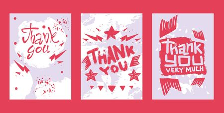 Lettering thank you very much set of cards, banners vector illustration. Beautiful greeting card calligraphy text words with pink stars. T-shirt print design. Modern brush lettering.