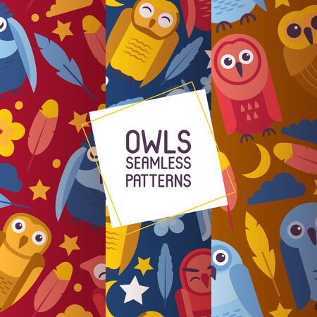 Group of colorful bright birds. Cartoon owls night birds with big open and closed eyes set of seamless patterns vector illustration. Moon, cloud, stars, feathers, flowers.