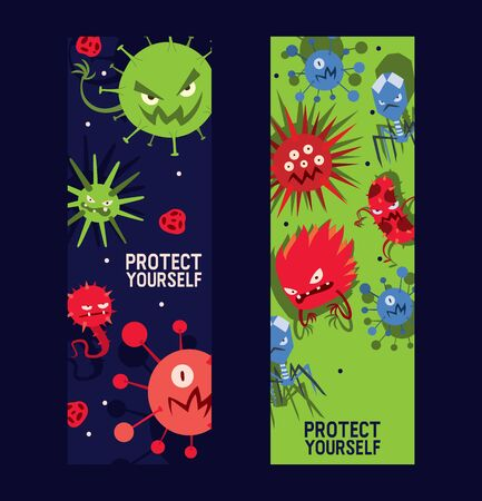 Protect yourself set of banners vector illustration. Microbes or collection of cartoon viruses. Bad microorganisms for people. Different disgusting bacteria. Agressive monsters. Illness.