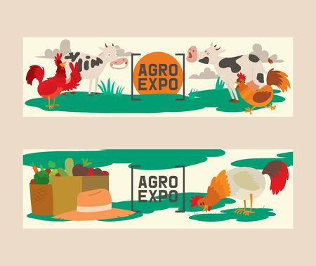 Farm products set of banners vector illustration. Agro exposition. Collection of cute pet animal. Domestic animals as cow, rooster or cock. Local market. Organic food. Vegetables. Beetroot, carrot.