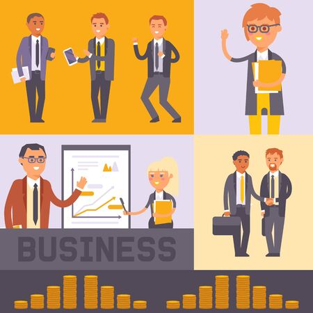 Flat people businessman banner vector illustration. Business man and woman in formal black suits shaking hands. Workers team. People standing near presentation. Earning money. Discussing projects. Illustration