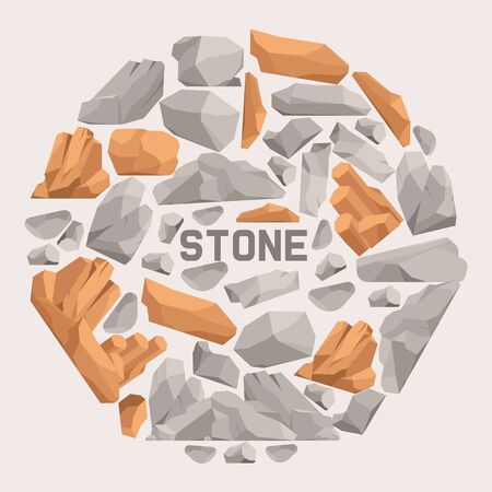 Rock stones cartoon flat banner. Stones and rocks in isometric 3d style vector illustration. Set of boulders of different shape and color. Heavy natural rough material. Abstract design. Banque d'images - 128168536