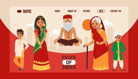 Faces of India banner web design vector illustartion. People in national traditional clothing. Meditating old yogi man in yoga lotus pose. Generations together. Old woman wearing sari.