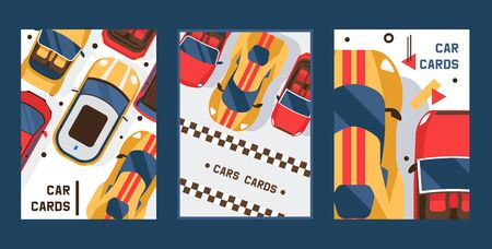 Car cards set of banners vector illustration. Vehicle, transport, transportation, transfer. Urban traffic concept, outdoor auto park, city transport services. Racing competition. Ilustração