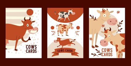 Curious stupid cow eating grass with vacant look set of cards vector illustration. Funny baby animal, cattle saying moo, showing okay sign with finger. Greeting, invitation cards. Branch with leaves. Ilustração