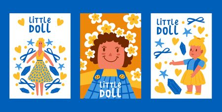 Little dolls collection set of posters, cards vector illustration. Girl Toy in summer dress with bows, stars, stones, flowers. Childhood baby toys with female accessories. Girls games. Playing.