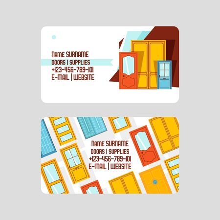 Front doors for houses and buildings set of business cards vector illustration. Interior wooden, glass, metal door of various forms. Buying accessories, supplies. Website, email.