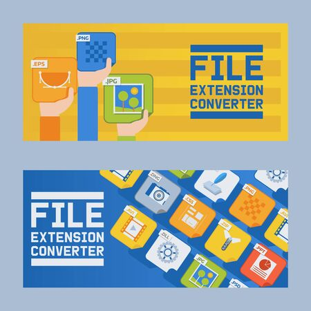 File extension converter set of banners vector illustration. Audio, photo, image, word file type. Document format. Pictogram. Web and multimedia. People hands holding icons.