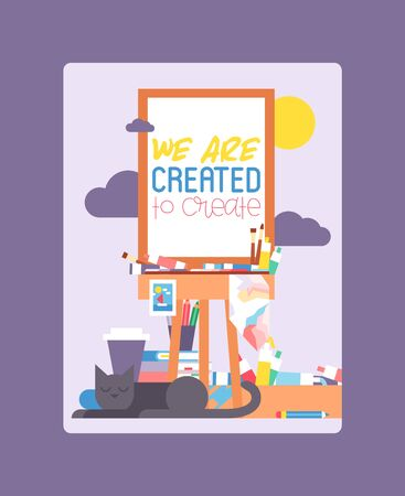 We are created to create on easel. Education, enjoyment concept. Pencils, watercolor, crayons. Cat lying and sleeping near working art place. Painting equipment. Cup of coffee. Pile of books.