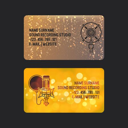Sound recording studio set of business cards vector illustration. Music recording for singer. Modern wireless microphone for press, mass media. Creating new songs. Contact information. Email. website. 일러스트