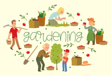 Gardening banner vector illustration. Equipment for land such as rake, shovel, bucket. Farmer picking fruit and vegetable harvest. Female and male characters harvesting. Baskets with organic food.