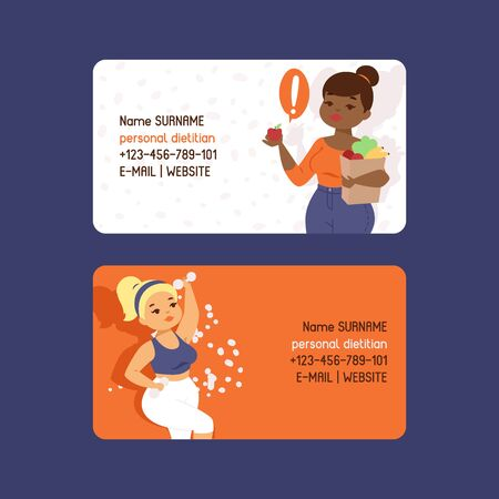 Personal dietitian set of business cards vector illustration. Obesity concept. Healthy diet nutrition. Consultation, weight loss, natural vegetables food and physical exercises. Woman with dumbbells. Illustration