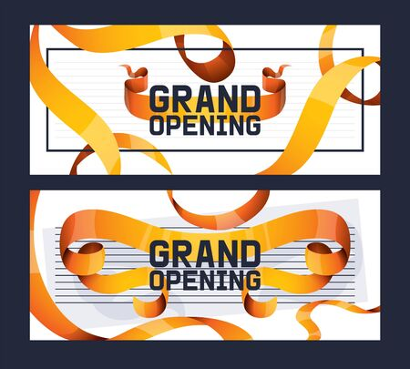 Grand opening of shop, store advertisement set of banners vector illustration. Golden textured curly ribbons on white background. Elegant style brochure, flyer. Cutting ceremony. New place.