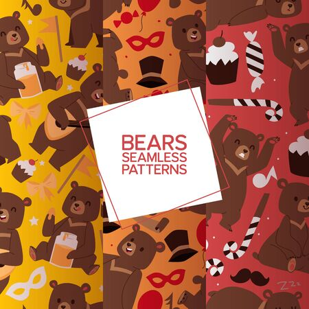 Bears set of seamless pattern vector illustration. Cartoon brown grizzly bear. Teddy in different pose and activities, sitting, frightening, dancing and playing balalaika, eating sweet honey. Illusztráció