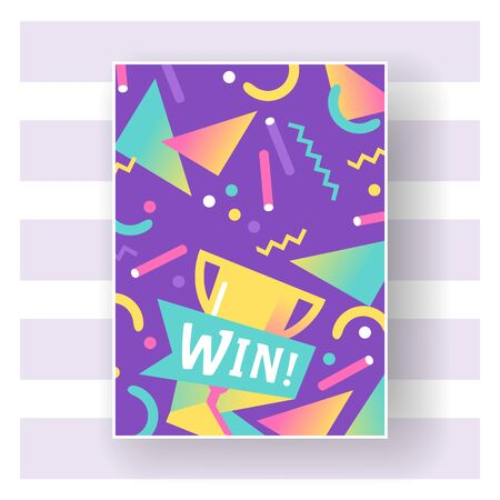Win sign with bright lines, dots and geometric shapes poster, banner vector illustration. Congratulations in championship. Success design. First place. Winning victory cup. 向量圖像