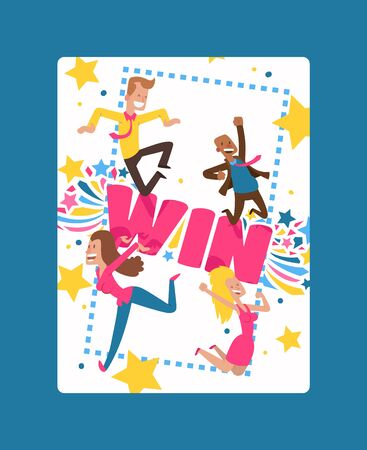 Win sign with bright lines, star shapes poster, banner vector illustration. Congratulations winner in championship. Success design. First place. Victory. Cheerful cartoon people jumping happily.