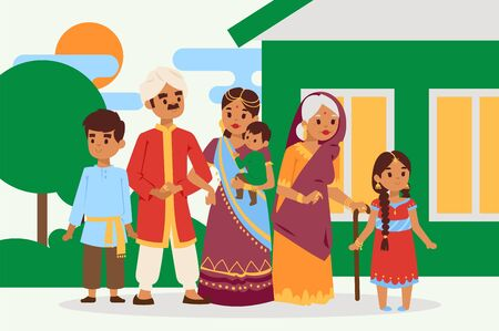 Big happy indian family in national dress vector illustration. Parents, grandmother and children cartoon characters. Family generations standing together, senior woman with grandchildren.