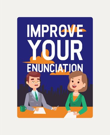Anchorman courses banner. Improve your enunciation vector illustration. Breaking news on Television. TV presenters man and woman. News announcers with paper script on news desk in studio. Studying.