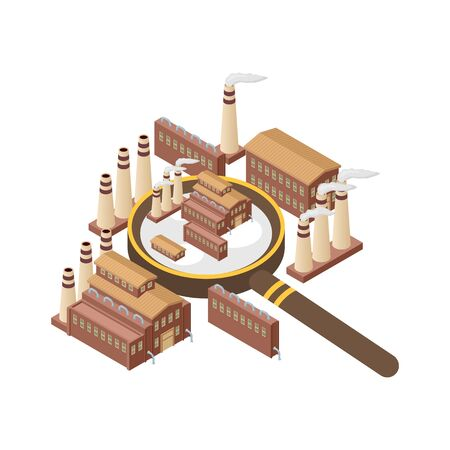 Magnifier with power energy plant, nuclear, heating gas production banner. Zooming industrial exterior vector illustration. Magnifying glass and industry. Buildings with smoke. Factory fumes. Illustration