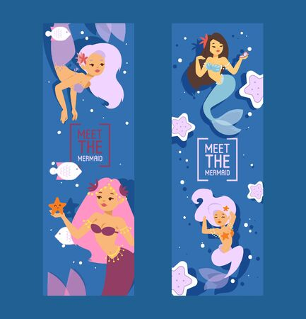 Cute mermaid princesses with colorful hair and other under the sea elements such as starfish, fish and shells set of banners vector illustration for kids artworks, children books.